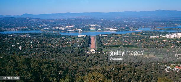 Parliament House from Mount Ainslie over Lake Burley Griffin, with Anzac Avenue in centre of picture Canberra, Australian Capital Territory,...
