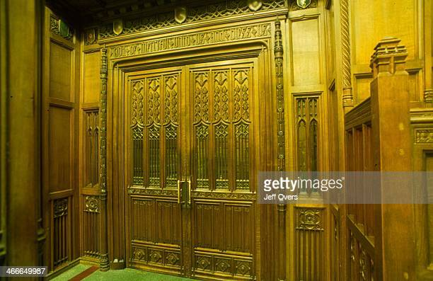 Parliament House of Commons main chamber interior details Image details of the main chamber interior of the HOC