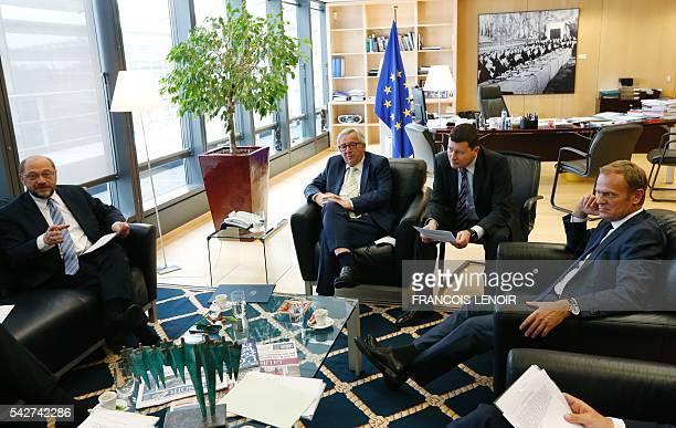 EU Parliament leader Martin Schulz European Commission chief JeanClaude Juncker Juncker's Head of Cabinet Martin Selmayr and President of the...