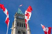 Parliament of Canada, Peace Tower, Canadian Flags