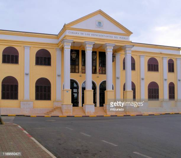 parliament of equatorial guinea, colonial building, formerly the agricultural chamber, malabo - equatorial guinea stock pictures, royalty-free photos & images