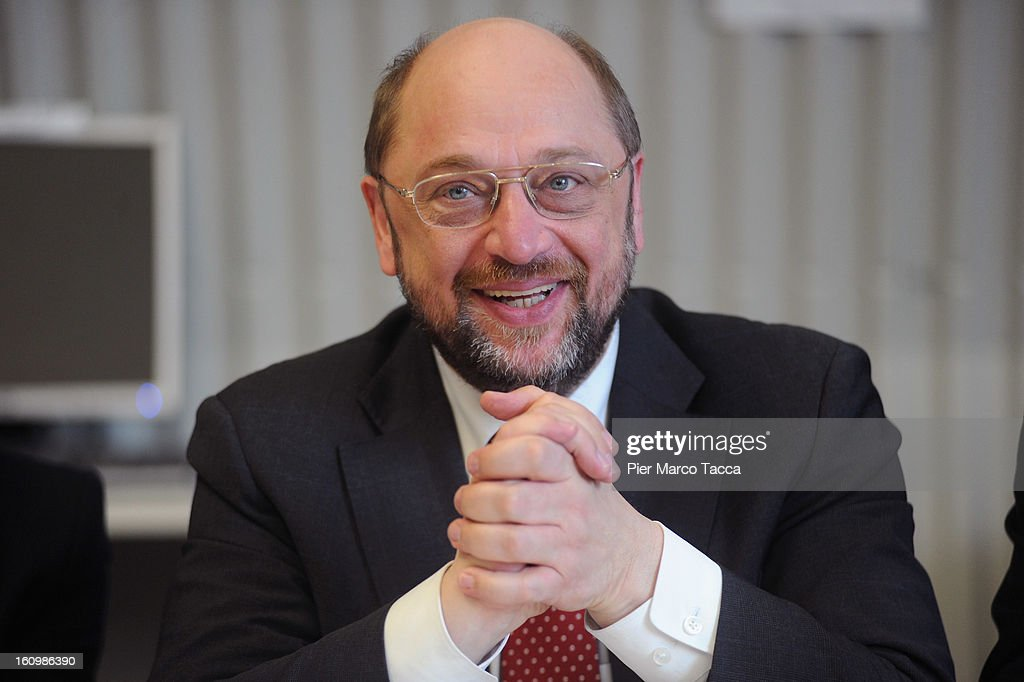 EU Parliament President Martin Schulz attends a press conference before the visit to Caritas Ambrosiana shelter on February 8, 2013 in Milan, Italy. Caritas is a night refuge for the homeless and is situated under the platforms of the central station.