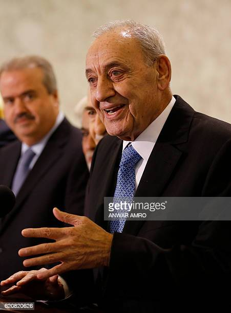 Parliament Speaker Nabih Berri speaks to the press following the appointment of Lebanon's new prime minister at the presidential palace in Baabda...