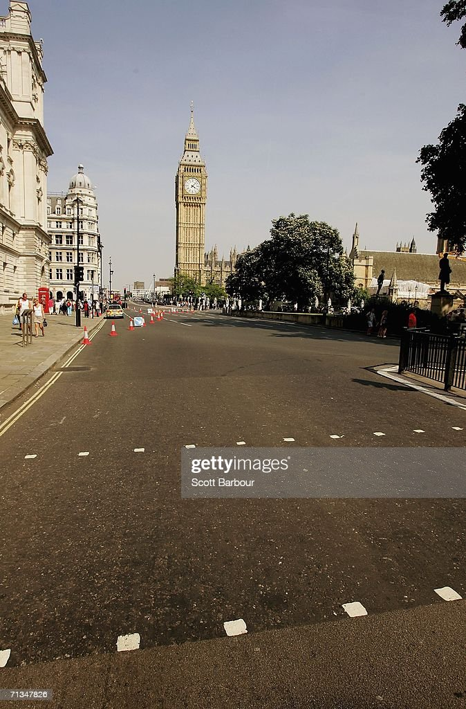 Parliament Square is nearly deserted at 1600 BST as the FIFA World Cup Germany 2006 Quarter-final match between England and Portugal kicks off on July 1, 2006 in London, England.