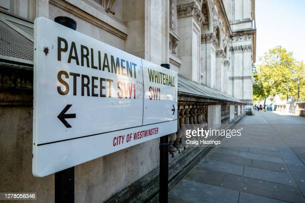 parliament street and whitehall street sign - government stock pictures, royalty-free photos & images