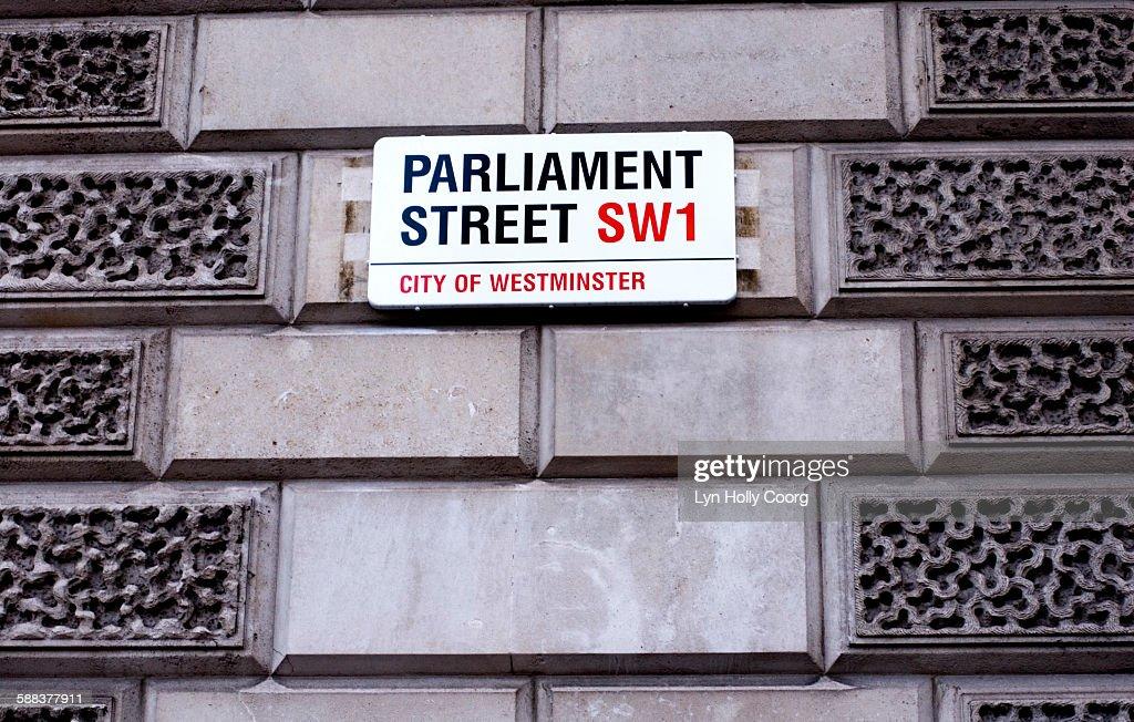 Parliament Street sign : Stock Photo