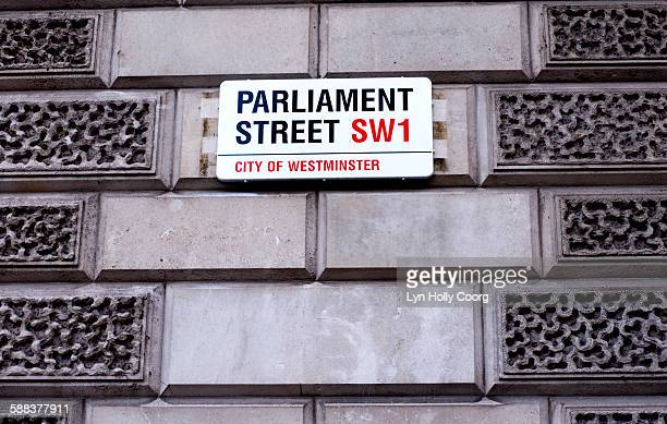 parliament street sign - lyn holly coorg stock photos and pictures