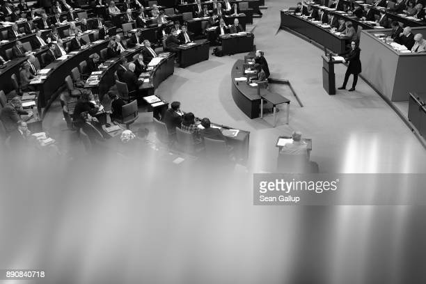 Parliamentarians at the Bundestag debate German foreign military missions prior to voting over their extension on December 12 2017 in Berlin Germany...