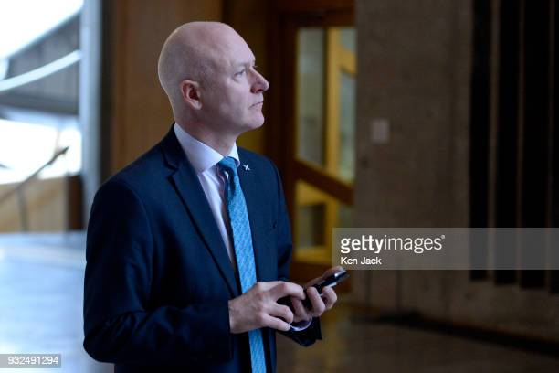 Parliamentary Business Minister Joe FitzPatrick on the way to First Minister's Questions in the Scottish Parliament on March 15 2018 in Edinburgh...