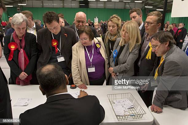 Parliamentary candidates including sitting MP Esther McVey watching the count at Bidston Tennis Centre Wirral for the Wirral West constituency in the...