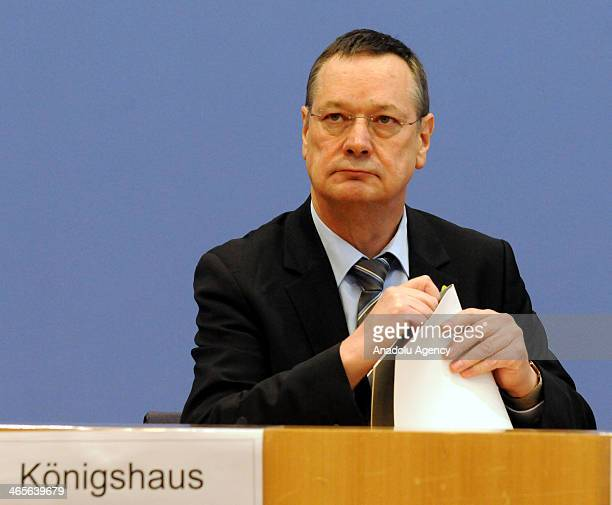 Parliamentary commissioner for the German armed forces Hellmut Koenigshaus presents his annual report 2013 at a press conference in Berlin Germany on...
