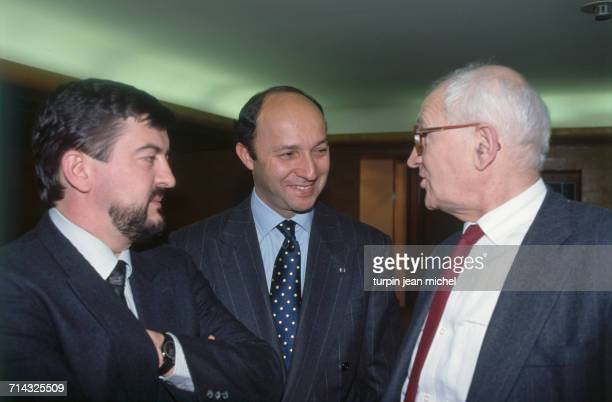 Parliamentary days of the Socialist Party in Paris 27th March 1990 From left to right JeanLuc Mélenchon Laurent Fabius and Jean Poperen