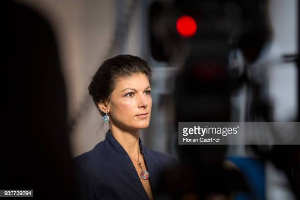 Parliamentary group coleader of Die Linke party Sahra Wagenknecht is pictured during an interview on March 13 2018 in Berlin Germany