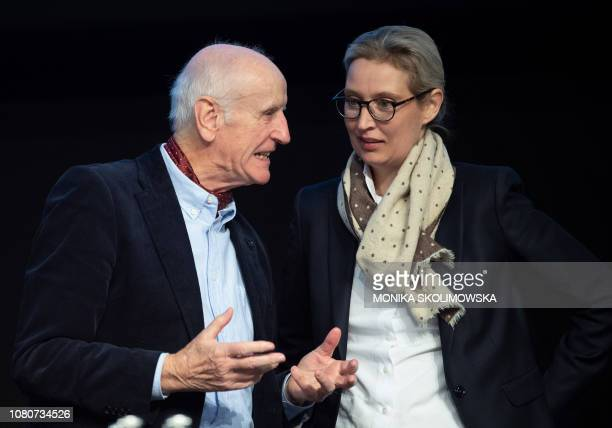 Parliamentary group coleader of the Alternative for Germany farright party Alice Weidel speaks with AfD party member Albrecht Glaser as they attend...