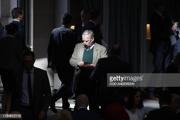 Parliamentary group coleaders of the farright antiimmigration AfD party Alexander Gauland is pictured prior to giving his vote during a parliamentary...