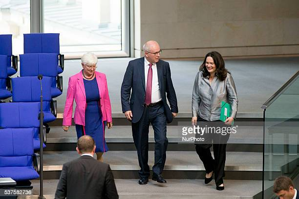Parliamentary group leader of CDU/CSU Volker Kauder and German Labour and Social Minister Andrea Nahles are pictured prior a debate on recognition of...
