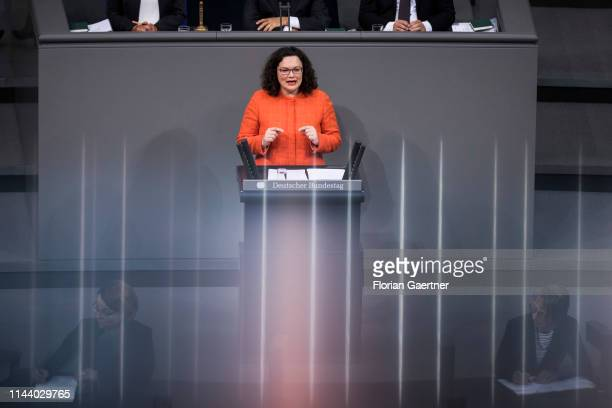 Parliamentary group leader of the Social Democratic Party Andrea Nahles is pictured during the debate of the Bundestag about 70 years of the Basic...