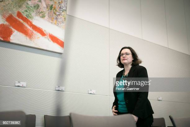 Parliamentary group leader of the Social Democratic Party Andrea Nahles is pictured before the faction meeting on March 13 2018 in Berlin Germany