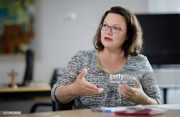 Parliamentary group leader of the Social Democratic Party Andrea Nahles captured on August 01 2018 in Berlin Germany