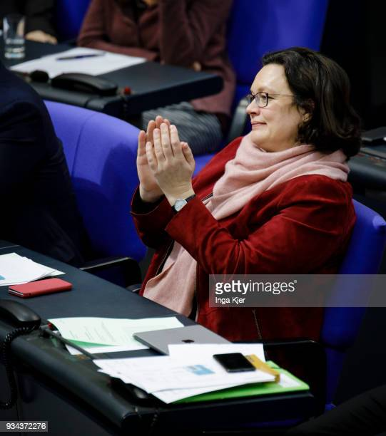 Parliamentary group leader of the Social Democratic Party Andrea Nahles captured on March 16 2018 in Berlin Germany