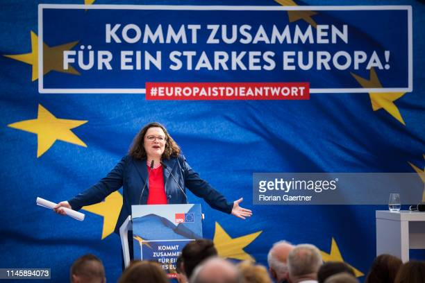 Parliamentary group leader of the Social Democratic Party Andrea Nahles speaks during the finish of the SPD electioneering for the European...