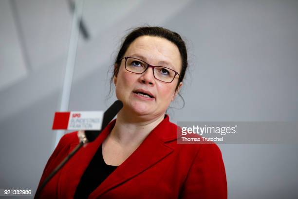 Parliamentary group leader of the Social Democratic Party Andrea Nahles speaks to the media for a faction meeting at Bundestag on February 20 2018 in...