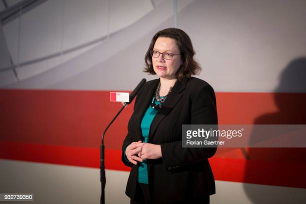 Parliamentary group leader of the Social Democratic Party Andrea Nahles speaks to the media on March 13 2018 in Berlin Germany