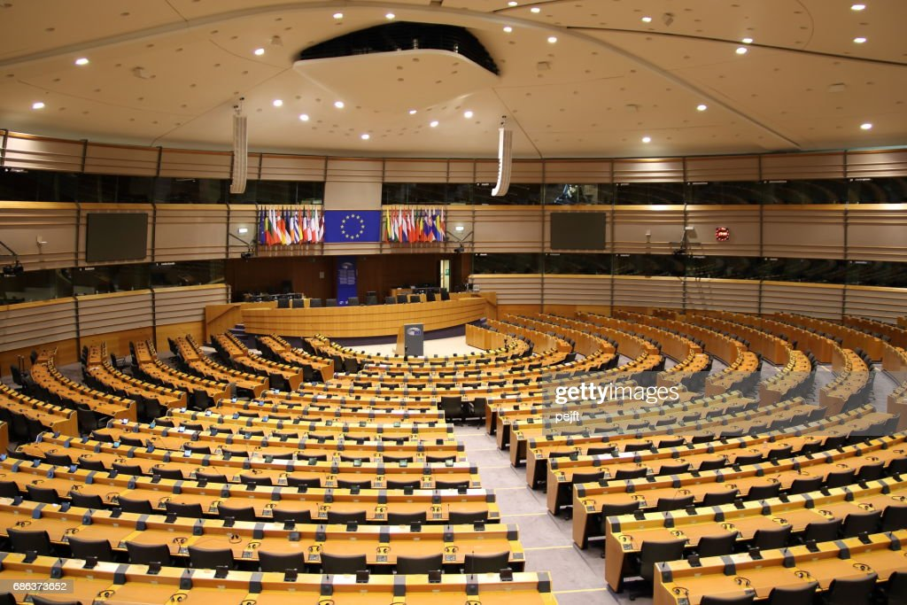 Parliamentary hemicycle at the European Union in Brussels : Stock Photo