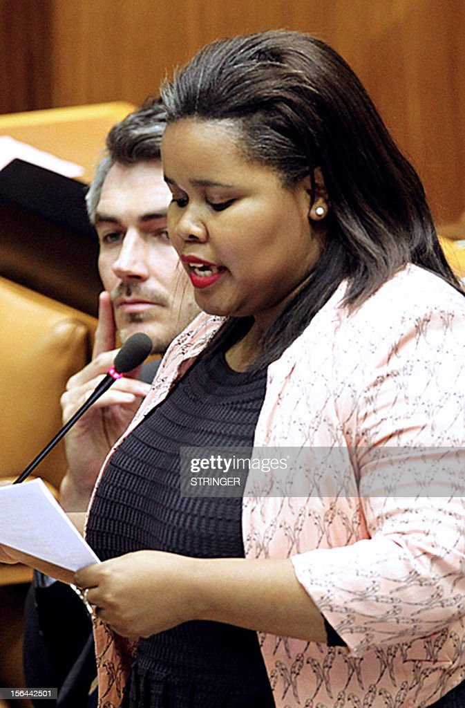 Parliamentary leader for the opposition Democratic Alliance, Lindiwe Mazibuko, delivers a speech on November 15, 2012, in the parliament in Cape Town. Mazibuko spoke during a parliamentary session in which South Africa President Jacob Zuma hit back at accusations he is failing the country, hours after allies torpedoed attempts to censure him. Facing accusations he mismanaged the economy, was AWOL during deadly labour unrest and wasted millions of taxpayers' money on upgrading a private residence, a visibly angered Zuma struck back. It was a rare flash of steel for the normally jovial leader. In one month Zuma faces the ANC's electoral conference, which will go a long way toward deciding whether he remains president of Africa's largest economy for another five years.