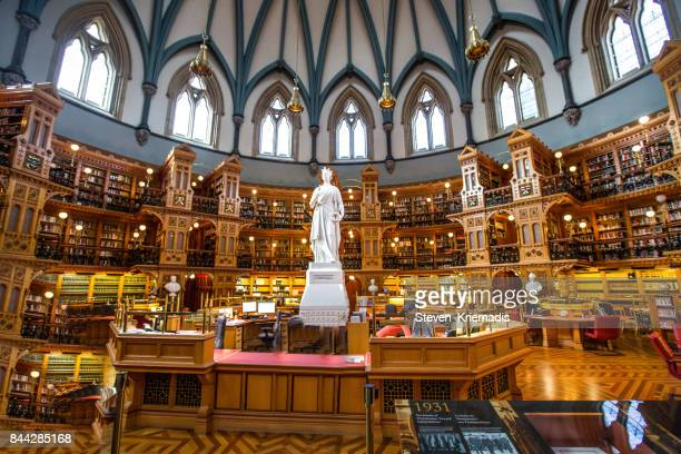 parliamentary library in ottawa, ontario - parliament building stock pictures, royalty-free photos & images