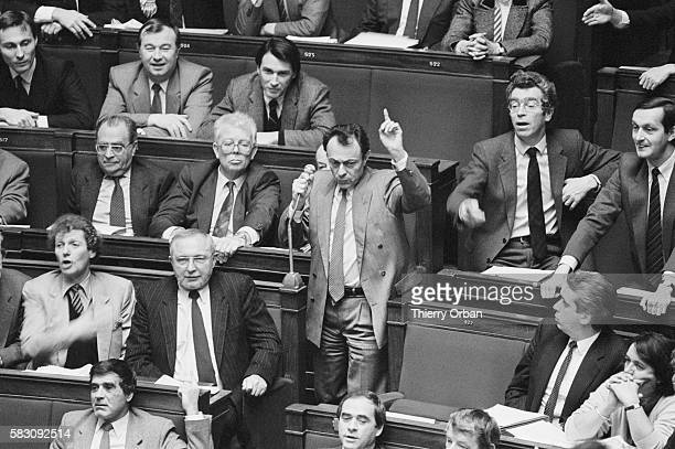 Parliamentary member Michel Rocard addresses the French National Assembly during a 1986 session on topical questions Rocard argued with Francois...