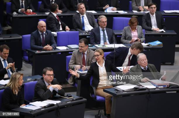 Parliamentary members of the rightwing Alternative for Germany political party including faction coleaders Alice Weidel and Alexander Gauland attend...
