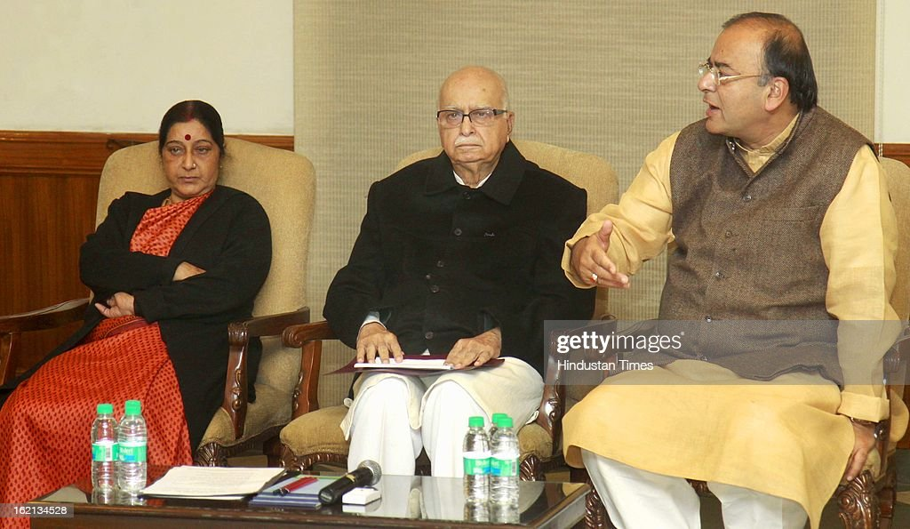 BJP Parliamentary party Chief LK Advani, opposition leader of Loksabha Sushma Swaraj, Opposition Leader of Rajya Sabha Arun Jaitly, during the BJP Parliamentary party executive meeting before start of Parliament budget session 2013 at Advani's Residence on February 19, 2013 in New Delhi, India.