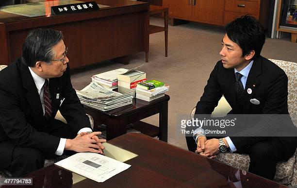 Parliamentary Secretary for Reconstruction Shinjiro Koizumi and Fukushima prefecture governor Yuhei Sato hold talks at Fukushima Prefecutre...