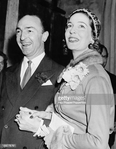 Parliamentary Secretary to the Minister of Transport John Profumo with actress Valerie Hobson after their wedding at the Church of St Columba Chelsea...