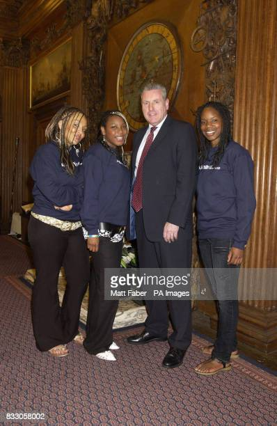 Parliamentary Undersecretary of State Vernon Coaker with Chantelle Wright Saphra Ross and Nadia Waithe all from Bristol at the launch of the Amistad...