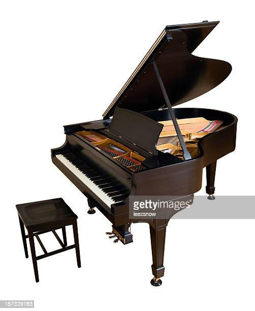 parlor grand piano on white - grand piano stock photos and pictures