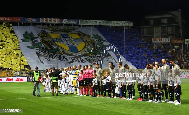 Parma Calcio and Juventus FC teams line up before the serie A match between Parma Calcio and Juventus at Stadio Ennio Tardini on September 1 2018 in...