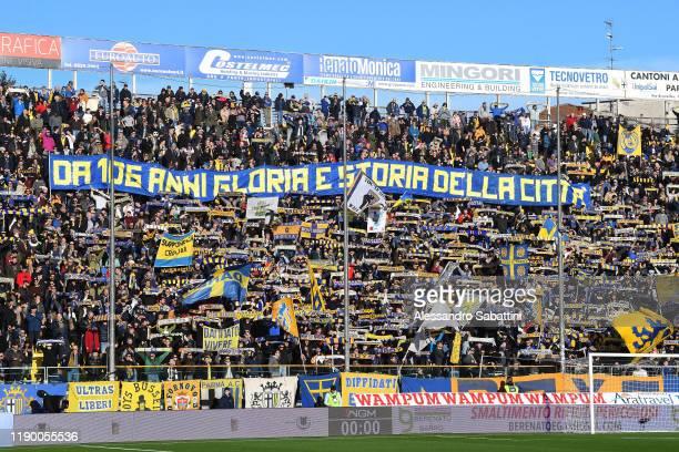 Parma Calcio fans show their support during the Serie A match between Parma Calcio and Brescia Calcio at Stadio Ennio Tardini on December 22 2019 in...