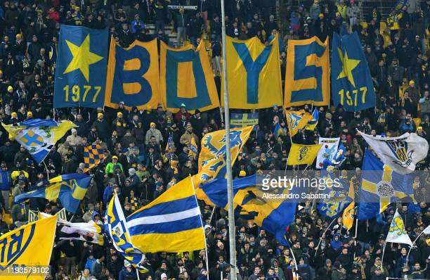Parma Calcio fans show their support during the Serie A match between Parma Calcio and US Lecce at Stadio Ennio Tardini on January 13 2020 in Parma...
