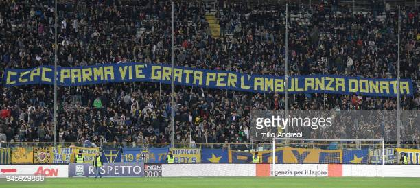 Parma Calcio fans show their support during the serie B match between Parma Calcio and AS Cittadella at Stadio Ennio Tardini on April 13 2018 in...