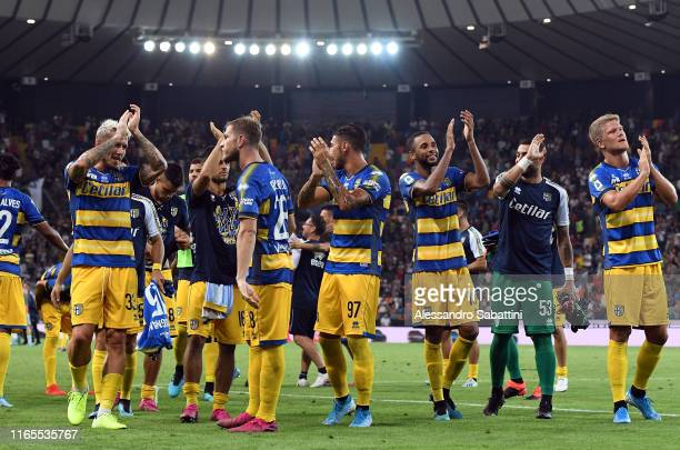 Parma Calcio players celebrate the victory after the Serie A match between Udinese Calcio and Parma Calcio at Stadio Friuli on September 1 2019 in...