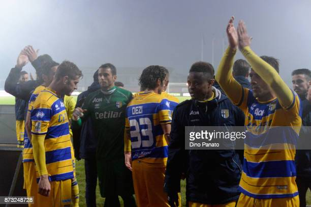 Parma Calcio players celebrate victory after the Serie B match between AS Cittadella and Parma Calcio on November 12 2017 in Cittadella Italy