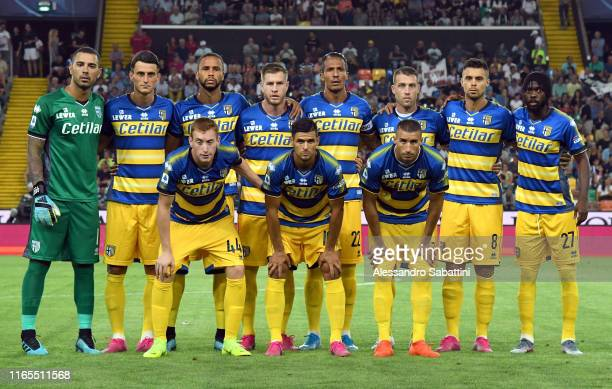 Parma Calcio team line up during the Serie A match between Udinese Calcio and Parma Calcio at Stadio Friuli on September 1 2019 in Udine Italy