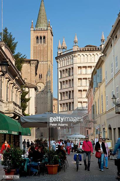 Parma Cathedral and Baptistry on right, Parma, Emilia Romagna, Italy