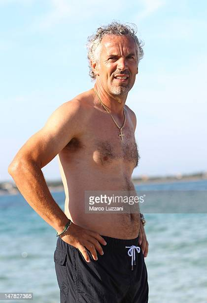 Parma FC coach Roberto Donadoni during the training session on the beach during Parma FC PreSeason Training Session at Geovillage on July 4 2012 in...