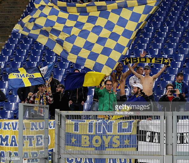 Parma FC fans support their team during the Serie A match between SS Lazio and Parma FC at Stadio Olimpico on April 29 2015 in Rome Italy