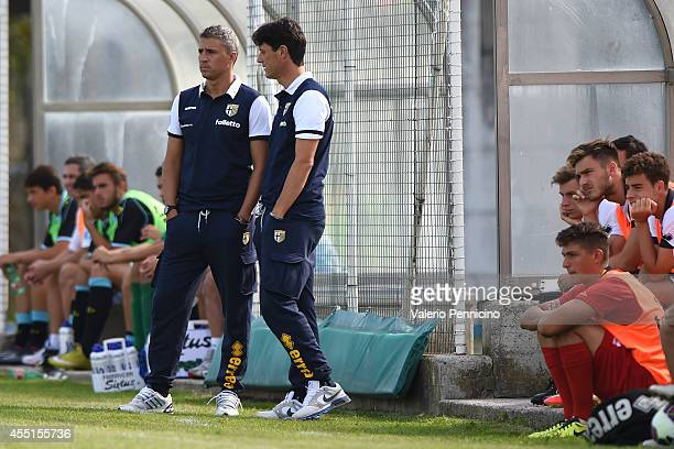 Parma FC juvenile head coach Hernan Crespo and assistant coach Gaetano Angelo Castellazzi during the juvenile match between Parma FC juvenile and...