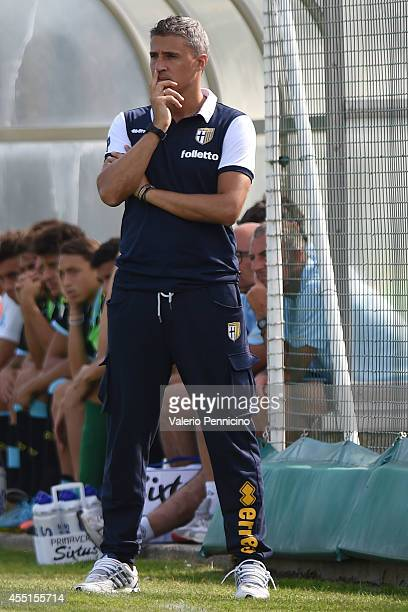 Parma FC juvenile head coach Hernan Crespo watches the action during the juvenile match between Parma FC juvenile and Virtus Entella juvenile on...
