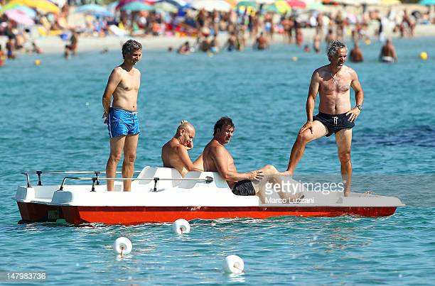 Parma FC manager Roberto Donadoni on a small boat during a Parma FC PreSeason Training Session at Geovillage on July 7 2012 in Olbia Italy